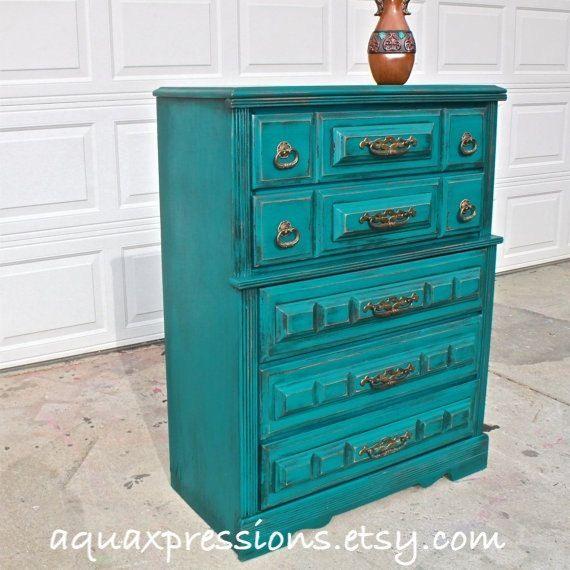 Teal Blue Vintage Chest/ Dark Glaze /Stylish Hardware /Bedroom Furniture/ Dresser/ TV Stand/ Storage/ Distressed. $399.00, via Etsy.