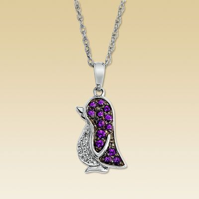 Purple Amethyst penguin necklace from Kay Jewelers. $115.00