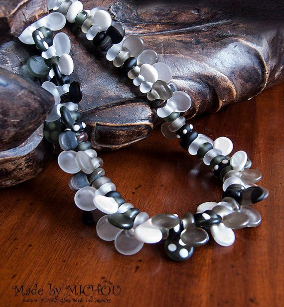 satin gray eighty lampwork bead art glass necklace made by michou pascale anderson