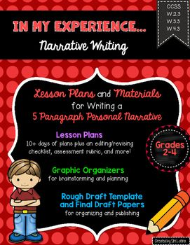 This Personal Narrative Writing unit includes the following:*Lesson plans for approximately 2 weeks of writing*32 task cards that can be used for Quiz-Quiz-Trade or similar activity*Narrative Writing definition poster*Graphic organizers for brainstorming and planning, including my 5 paragraph organizer*Transition word list for narrative writing*Example of finished writing piece*Rough draft template for 5 paragraph draft*Revising and editing checklists*Publishing papers*Assessment rubric