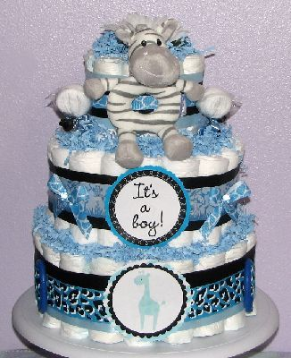A Cute Blue Elephant Adorn The Center Front Of Sweet Safari Boy Baby Shower.