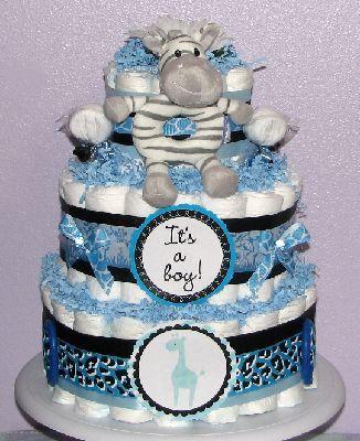 Blue Safari Diaper Cake for a baby boy