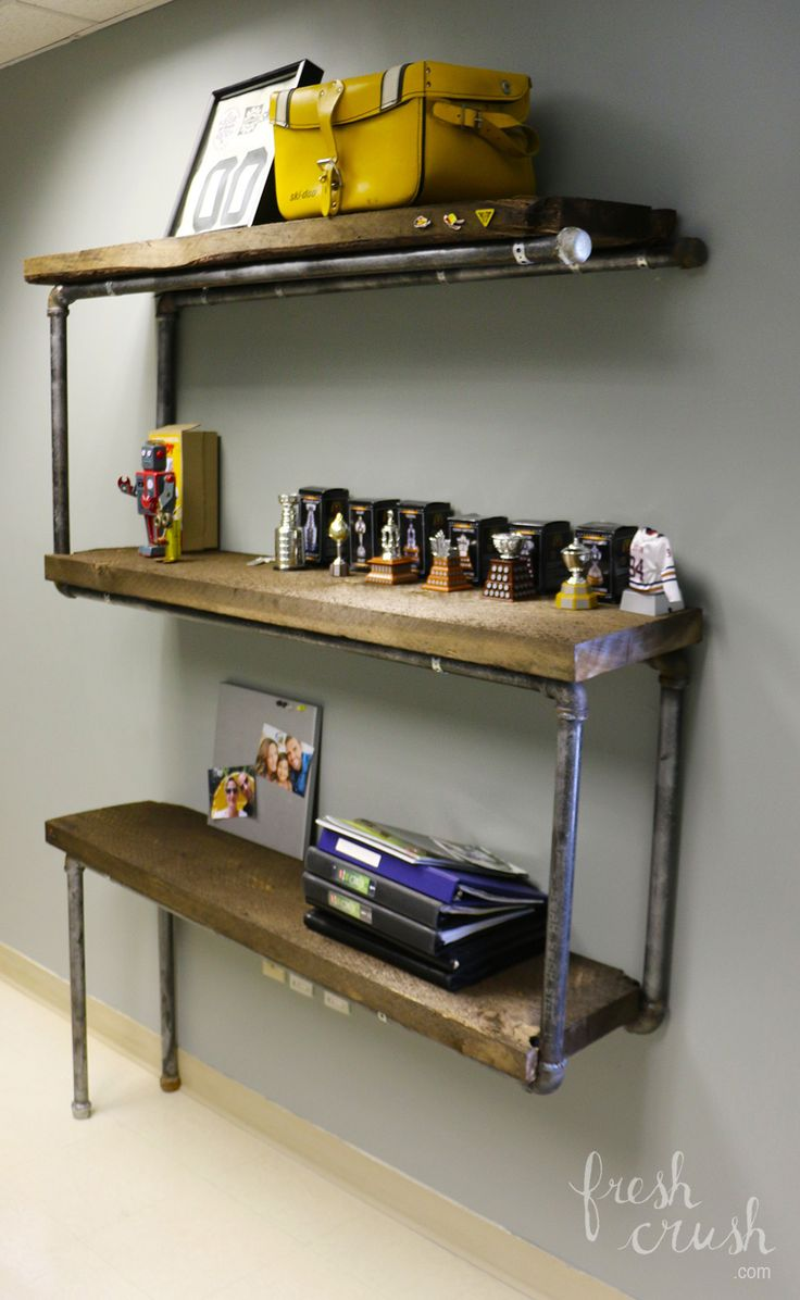 DIY Industrial Pipe Shelving. www.freshcrush.com