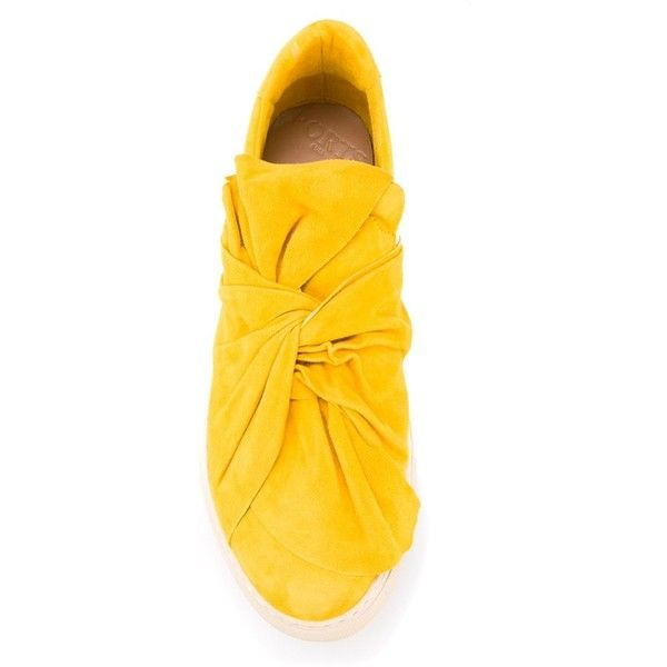 Ports 1961 'Bow' sneakers (31490 RSD) ❤ liked on Polyvore featuring shoes, sneakers, ports 1961, bow shoes, mustard yellow shoes, ports 1961 shoes and mustard shoes