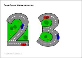 Road-themed display numbering (SB10938) - SparkleBox