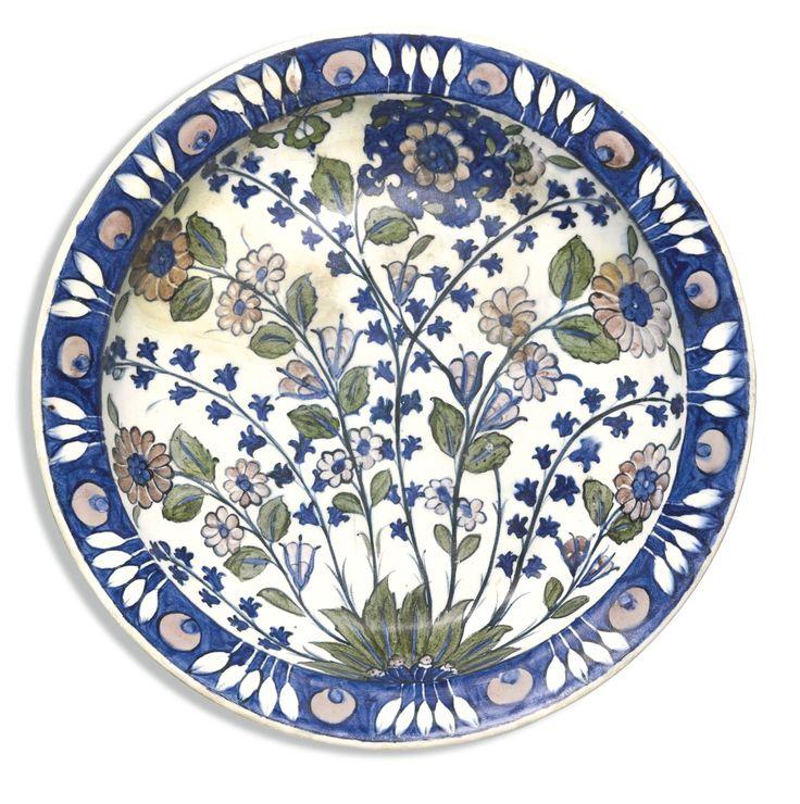 A rare Iznik 'Damascus' style pottery dish, Turkey, circa 1540 | lot | Sotheby's