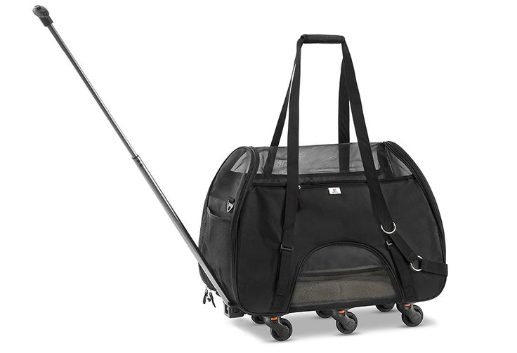 WPS Airline Approved Removable Wheeled Pet Carrier for Small Pets. Upgraded Structural Design For Ultimate Strength, Features Mesh Panels and Plush Mat. Compact and Durable. 19'x22'x11' -- See this great image (This is an affiliate link and I receive a commission for the sales) : Cat Cages, Carrier and Strollers