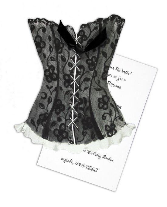 Black Lace Corset Invitation for Paris themed bridal shower