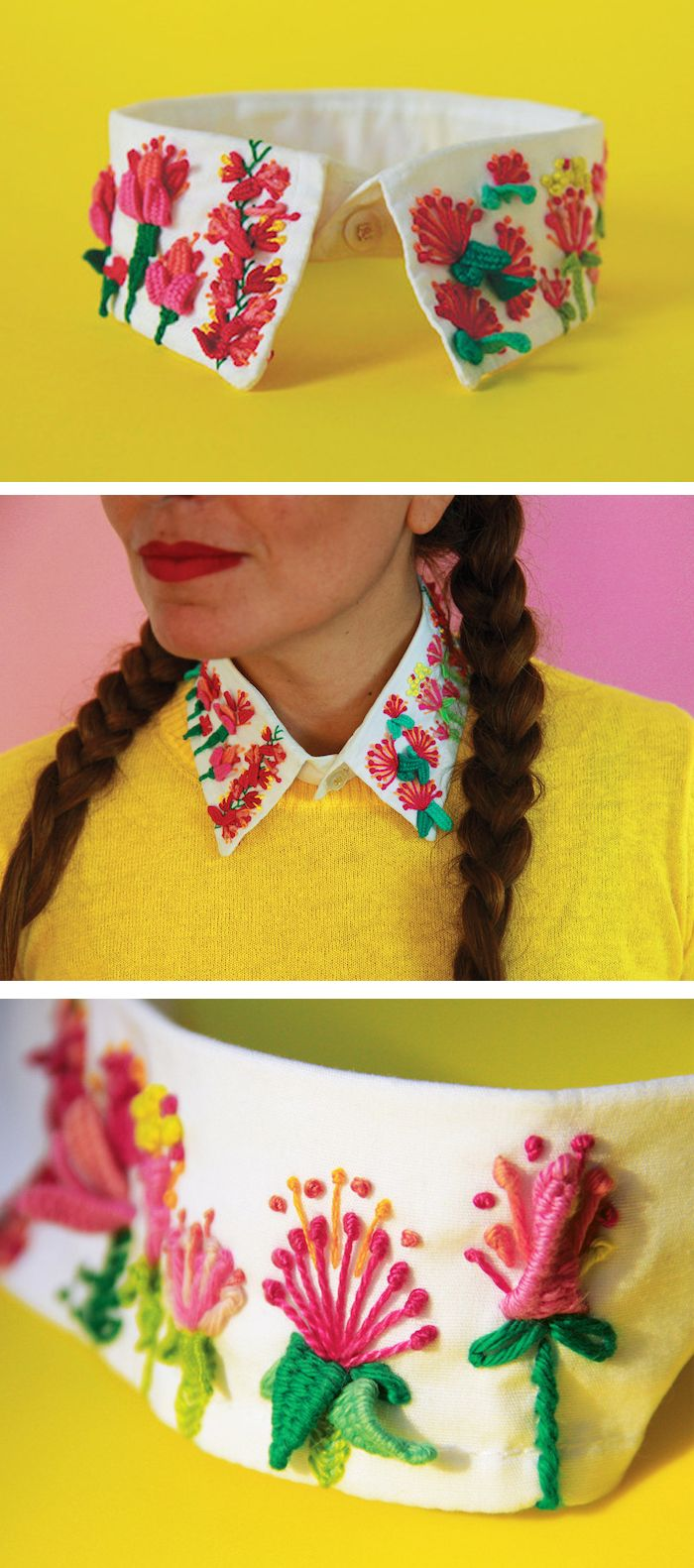 Señorita Lylo embroidered collar // sculptural embroidery stitches // flower embroidery // embroidered clothing