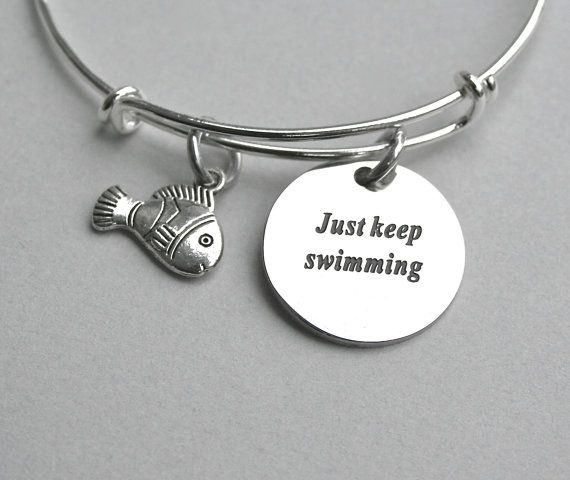 Stainless Steel Engraved Just Keep Swimming , Disney Pixar's Finding Nemo Inspired Charm Bangle ,Dory Bangle, Disney Dory Just Keep Swimming