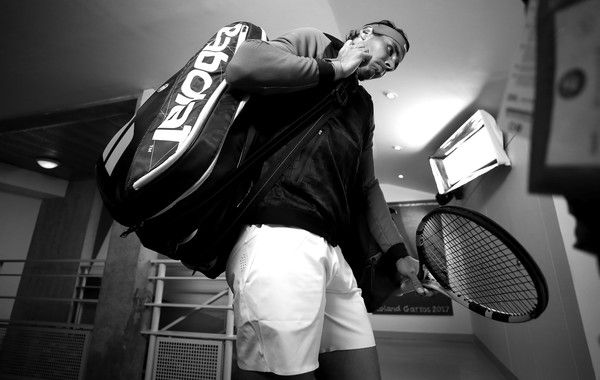 Rafael Nadal Photos Photos - This image was processed using digital filters) Rafael Nadal of Spain is pictured inside the tunnel area prior to his mens singles semi-final match against Dominic Thiem of Austria on day fourteen of the 2017 French Open at Roland Garros on June 10, 2017 in Paris, France. - 2017 French Open - Day Fourteen