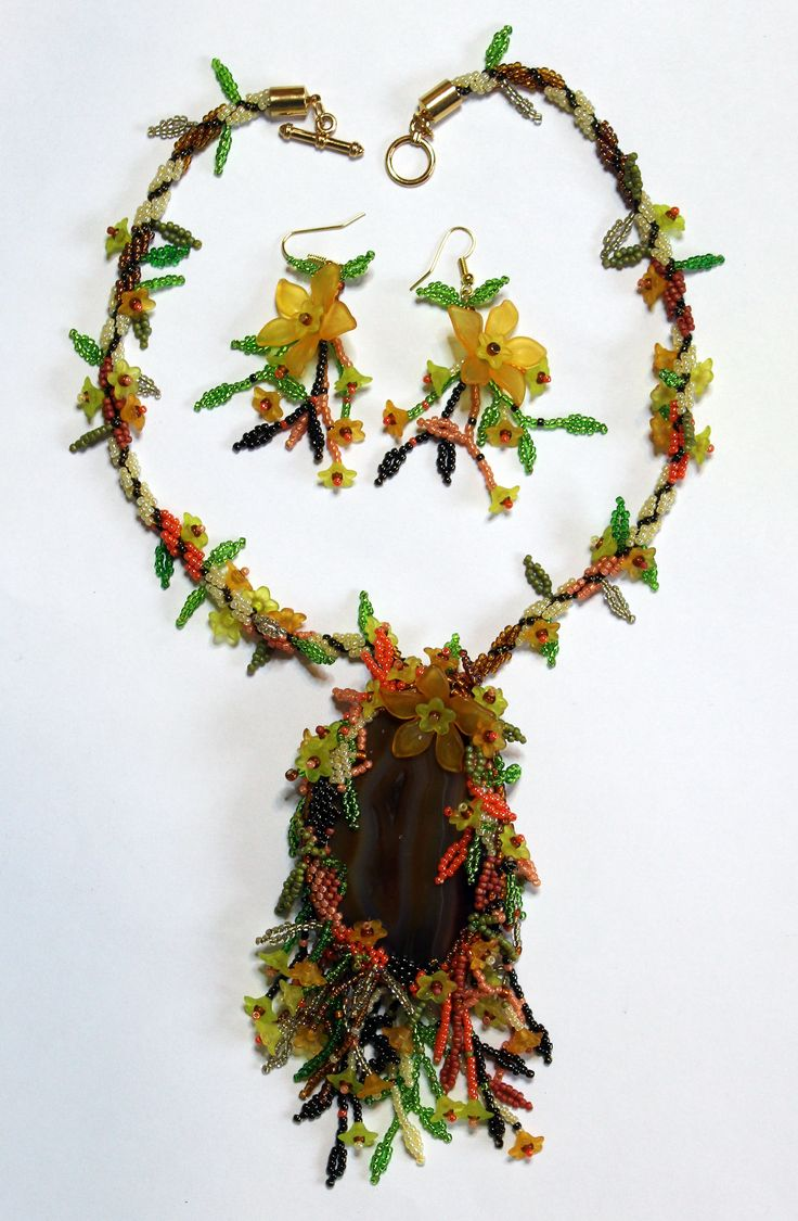 Autumn Splendour necklace and earring set created for Beads Direct. Anne Waller #beadsdirect #beading