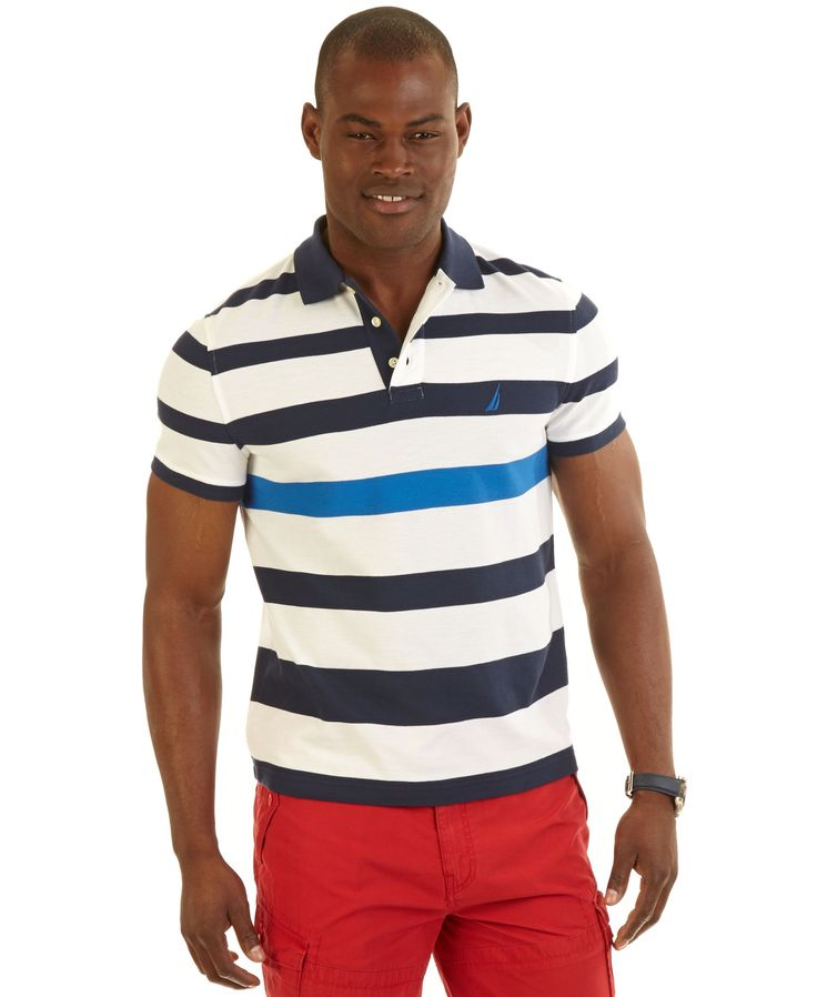 Nautica big and tall engineered striped performance polo for Big and tall polo rugby shirts