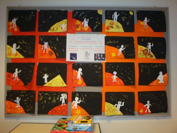astronaut op een planeet, verschillende technieken in 1 les/opdracht groep 5