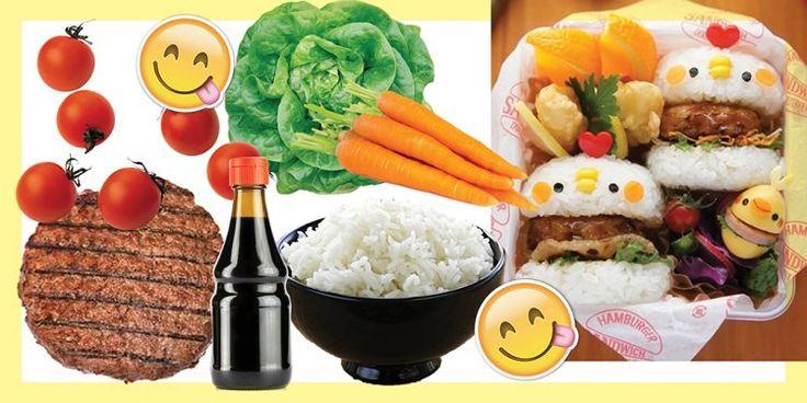ДЛЯ ПОКЛОННИЦЫ АНИМЕ Тебе понадобится: сваренный по японской технологии рис для суши. соевый соус. 2 небольшие котлеты. салатный микс. помидоры черри. водоросли нори. морковь. кукуруза. апельсины для украшения. Сделай четыре небольшие лепешки из риса в форме булочек для бургера. Между каждыми двумя лепешками положи лист салата и котлетку, политую соевым соусом. Аккуратно выложи бургеры на салатный микс. Для того чтобы сделать глазки используй нори, для щек – морковь, для клюва  – куку