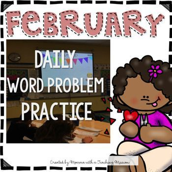 February Word Problem Warm Ups & Supplemental Printables. Everyday, my students start the day with a word problem warm-up. I project this PDF on the whiteboard, and they get out their own small whiteboards to solve the problem.  I've also turned each page