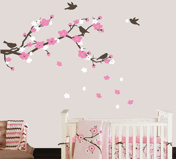 Cherry Blossom Branch and Birds Wall Decal by TweetHeartWallArt