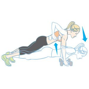 Pushup with Row: Do as many as you can in one minute, then move on to the next exercise in THIS cardio weightlifting workout:  http://www.womenshealthmag.com/fitness/weight-room-workout?cm_mmc=Twitter-_-WomensHealth-_-content-fitness-_-weightroom