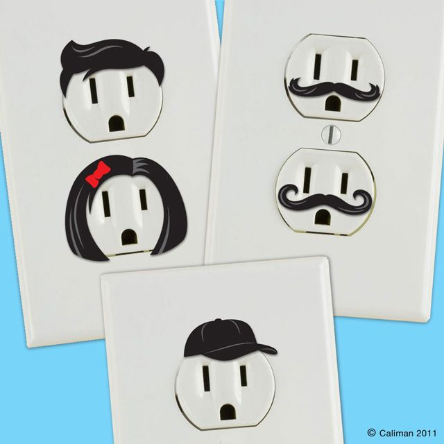 Give Electric Wall Outlets Personality! These are stickers, but could easily paint something like this on. Just make sure to unscrew the plate from wall before painting.