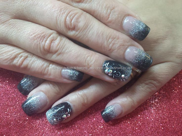 Black and silver glitter acrylic fade with freehand nail art and swarovski crystals | Uñas - Nails - Nagel | Pinterest | Nail Art, Nails and Beautiful nail art