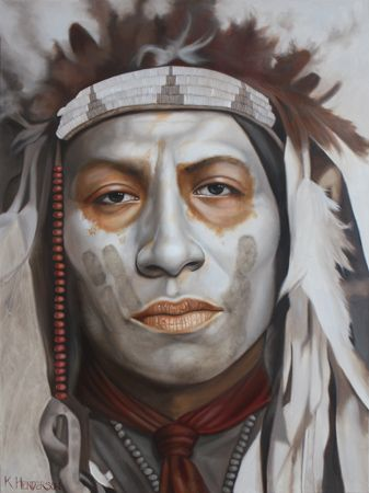 Guiding Eyes, 40 x 30, oil on linen    This Plains Indian has his face painted white with a black hand or coup mark.    He wears a feather headdress with beads and ribbons.    http://khendersonart2.blogspot.com/