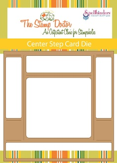 Want to make a center step card without all the measuring!!!! Voila run this through your die cut machine and it cuts and measures for you. All you need to do is fold on the fold lines
