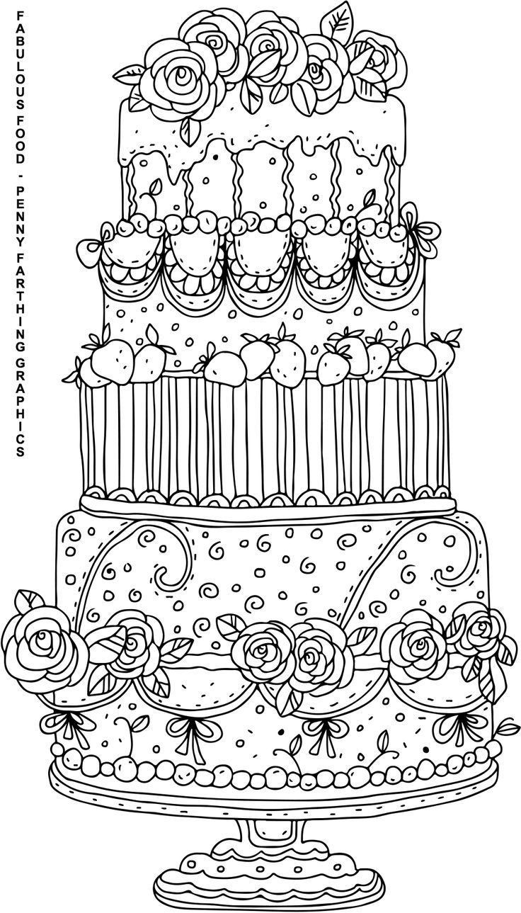 Cake From Fabulous Food Coloring Page For Adults Food Coloring Pages Coloring Books Coloring Pages