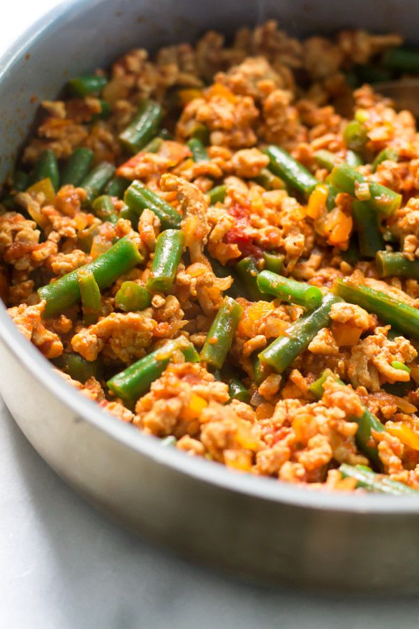 Ground turkey skillet with green beans recipe skillets for Easy thanksgiving green bean recipes