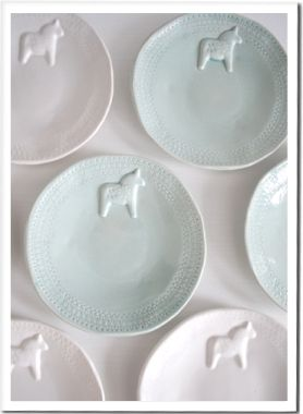 Dala horse plates  I want these!!