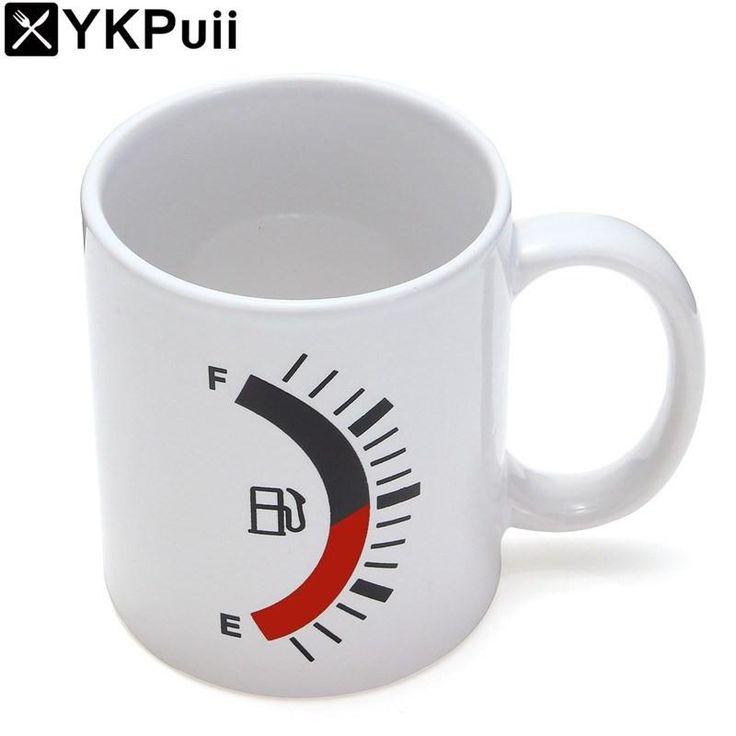 Novelty 480ml Color Changing Coffee Mug Gauge Tank Cup Heat Cold Sensitive Tea Mug Cup Breakfast Milk Cup Funny Gift