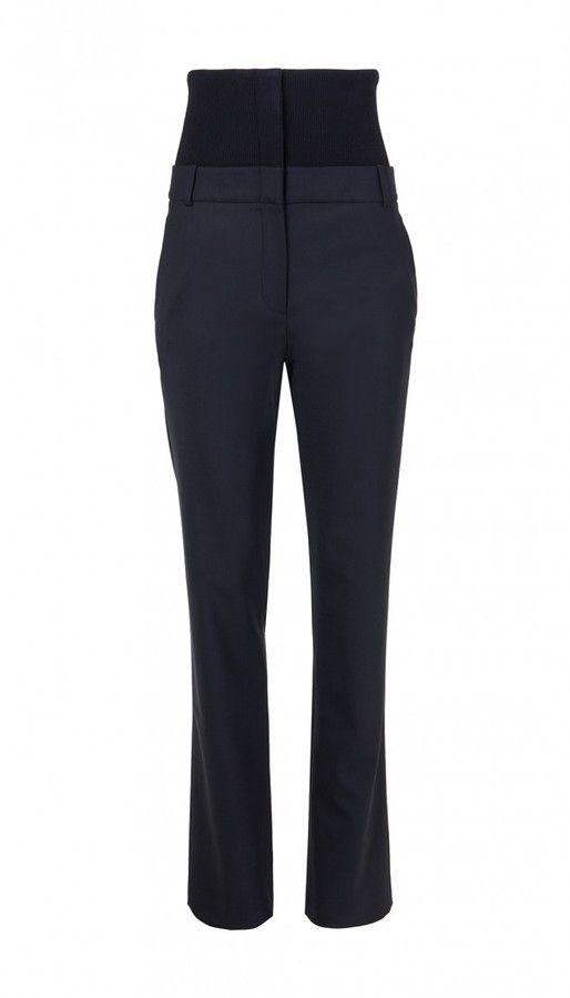 Tibi Tropical Wool Hanne Corset Slouchy Pants