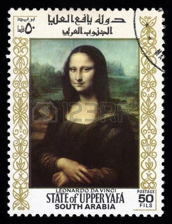 Upper Yafa, South Arabia postage stamp with a portrait image of the smiling Mona Lisa