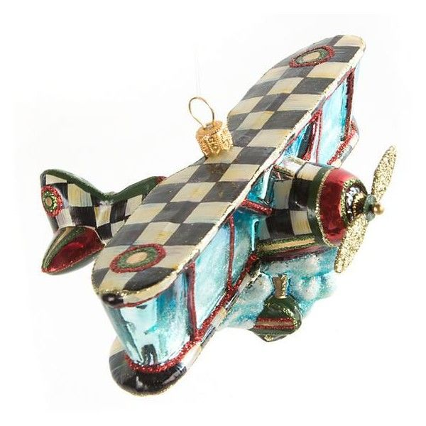 Glass Ornament Airplane ($49) ❤ liked on Polyvore featuring home, home decor, holiday decorations, holiday decor, holiday tree storage box, hand blown ornaments, airplane ornament and handmade christmas tree ornaments