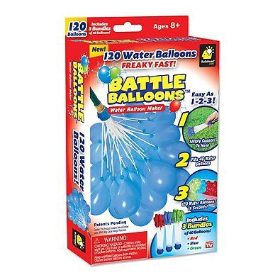 Never run out of ammo during a water balloon fight by using the Battle Balloons Water Balloon Maker. Simply attach to a hose and fill wit...