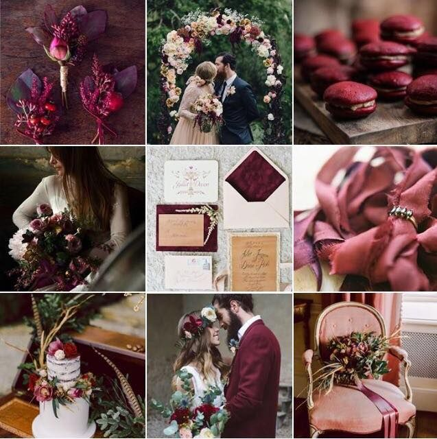 Beautiful Wedding Inspiration For A Marsala, Dark Red Wedding Colour Theme.  Including Boutonnieres,