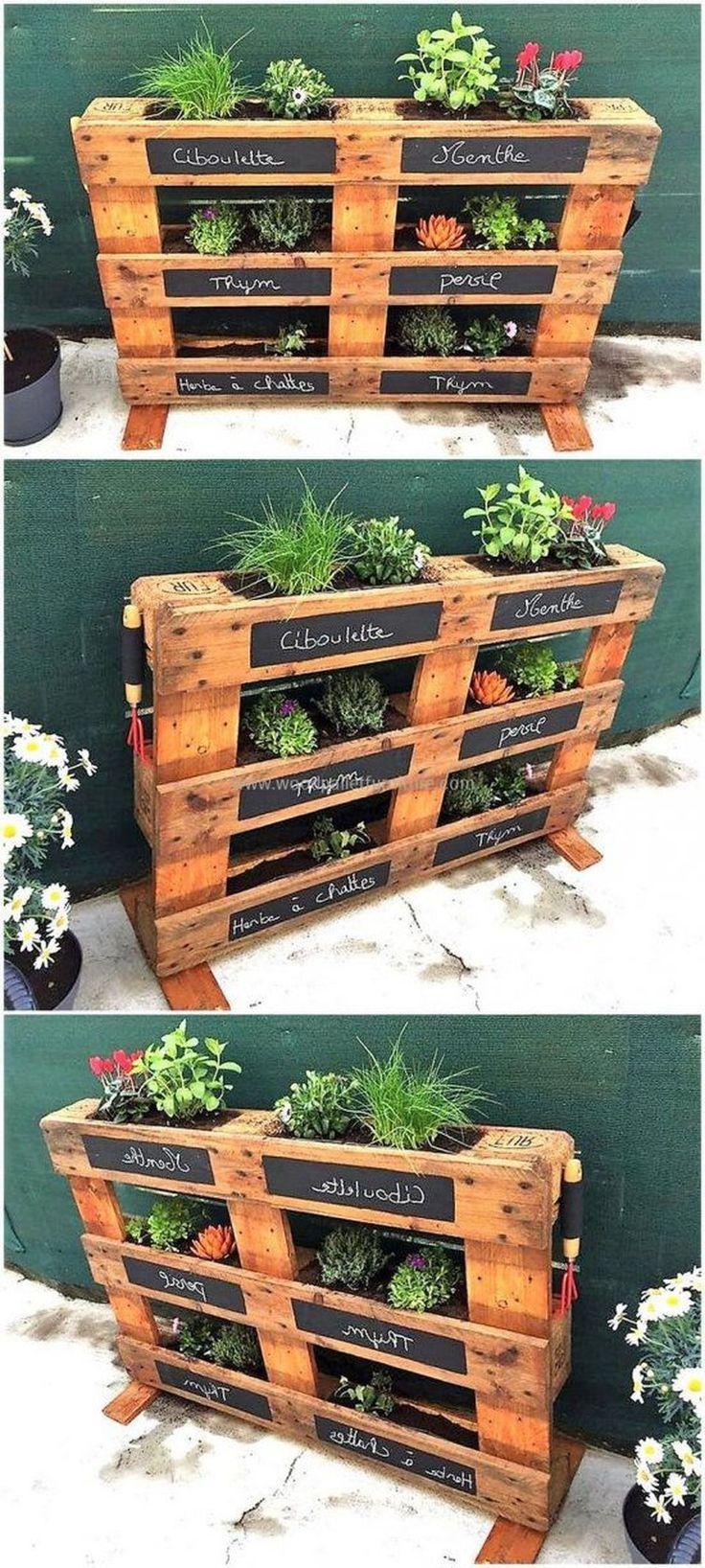60 Amazing Creative Wood Pallet Garden Project Ideas #herbgardendesignideas