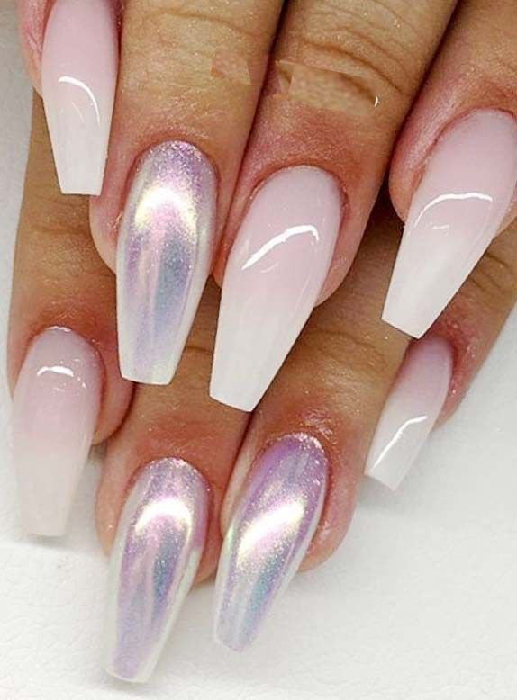 Best Ombre Coffin Acrylic Nails Arts Designs in Year 2019