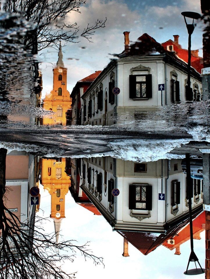 Pécs, Hungary [DH: Haha! Turn it upside-down to see which side is Up!]