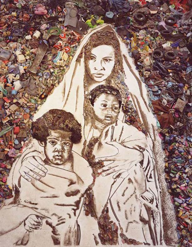 Vik Muniz originally from São Paulo, Brazil  now lives + works in New York. If you are reading this and interested in learning more, watch the documentary, WASTELAND,  by Lucy Walker. It's an inspiring story profiling Brazilian catadores (trash pickers) and the artist Vik Muniz.  I love him