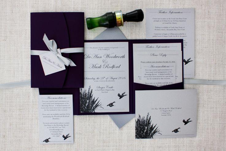 duck shooting wedding invitations nz http://bemyguest.co.nz/archives/item/darling-ducks-purple-pocketfold-wedding-invitation/