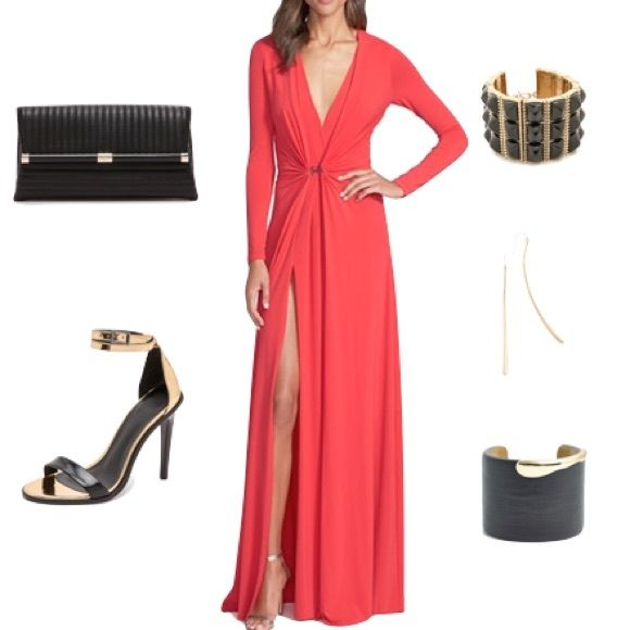 Halston Heritage plunging red long sleeve gown Gorgeous flattering gown. Worn once to a wedding. Dry cleaned and has zero signs of wear. Will negotiate elsewhere. Halston Heritage Dresses Prom
