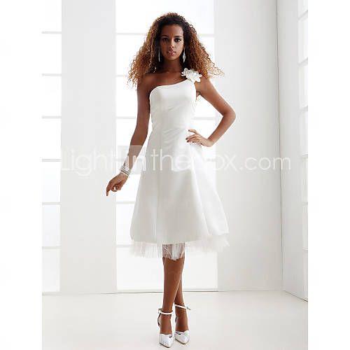 [USD $ 58.99] Sheath/Column Scoop Knee-Length Charmeuse Wedding Dress