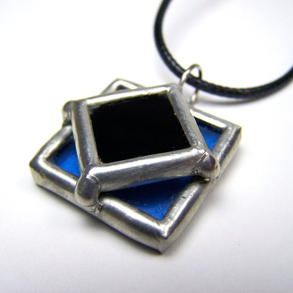 North Star  Stained Glass Pendant with Black Cord by faerieglass