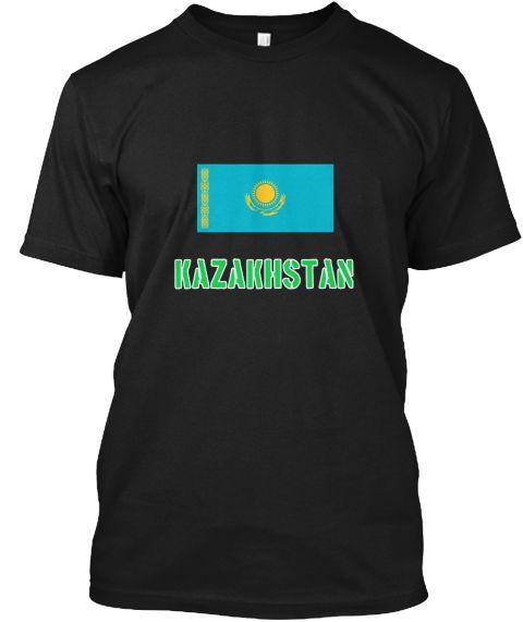 Kazakhstan Flag Stencil Green Design Black T-Shirt Front