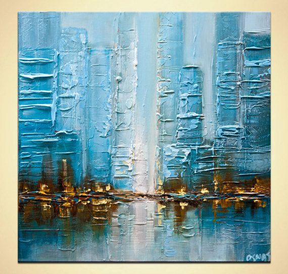 La pintura Original azul moderno ciudad abstracta TEXTURED