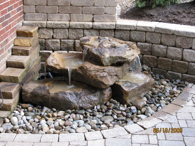 small rock pile fountain