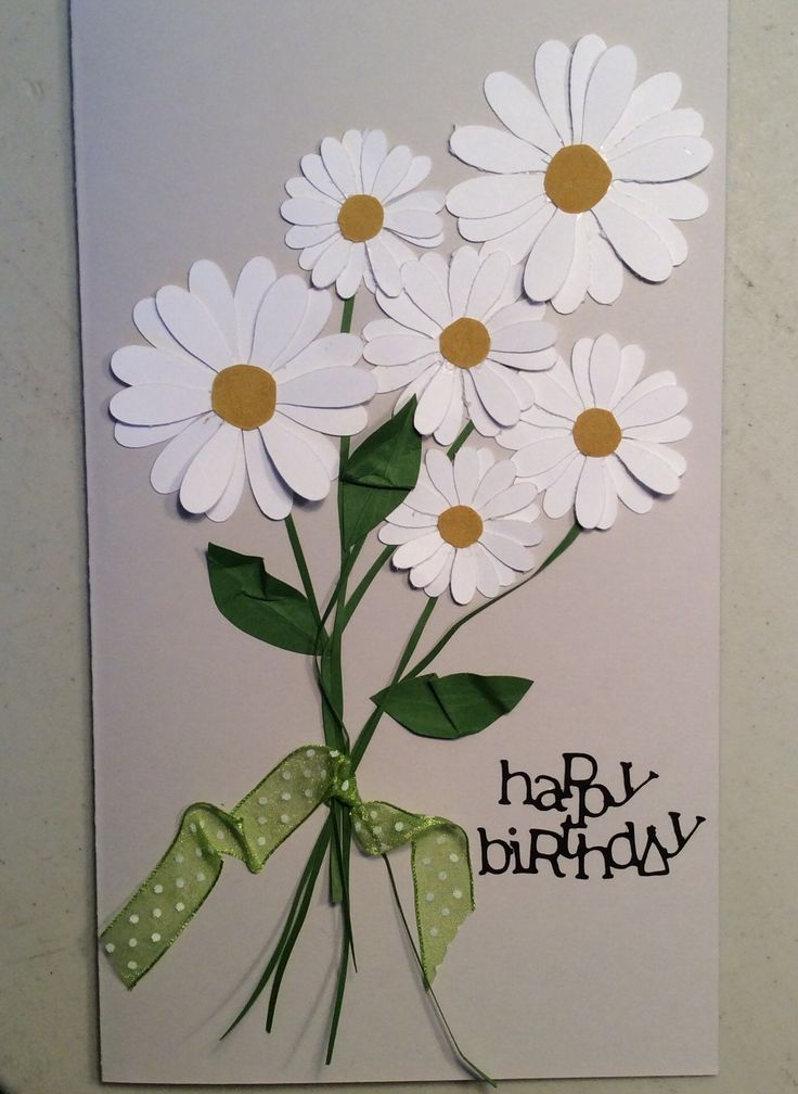 Birthday card, Cricut flowers and doodle type fonts