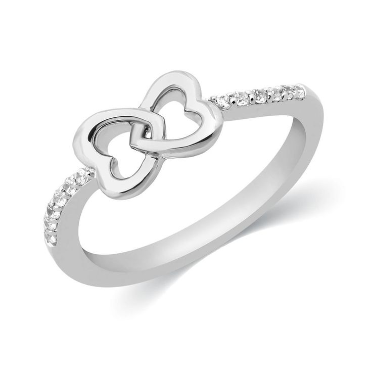 1/10 Ct. Round Cut Natural Diamond Heart Bow Engagement Ring 925 Sterling Silver #CaratsForYou #Heart