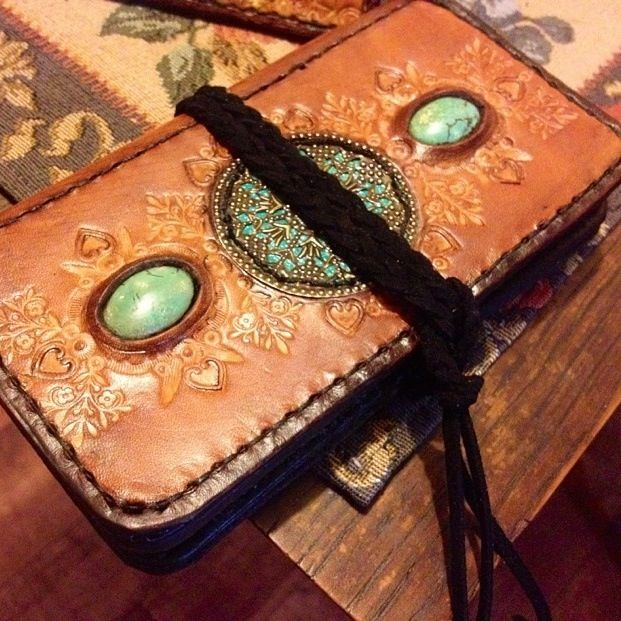 Leather turquoise inlay mandala phonecase