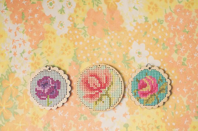 cross-stitch pendants